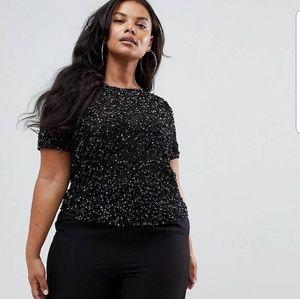 NWT ASOS Design Curve Sequin Embellished Tshirt